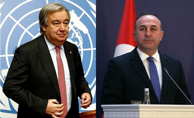 UN chief Guterres (L), FM u00c7avuu015fou011flu