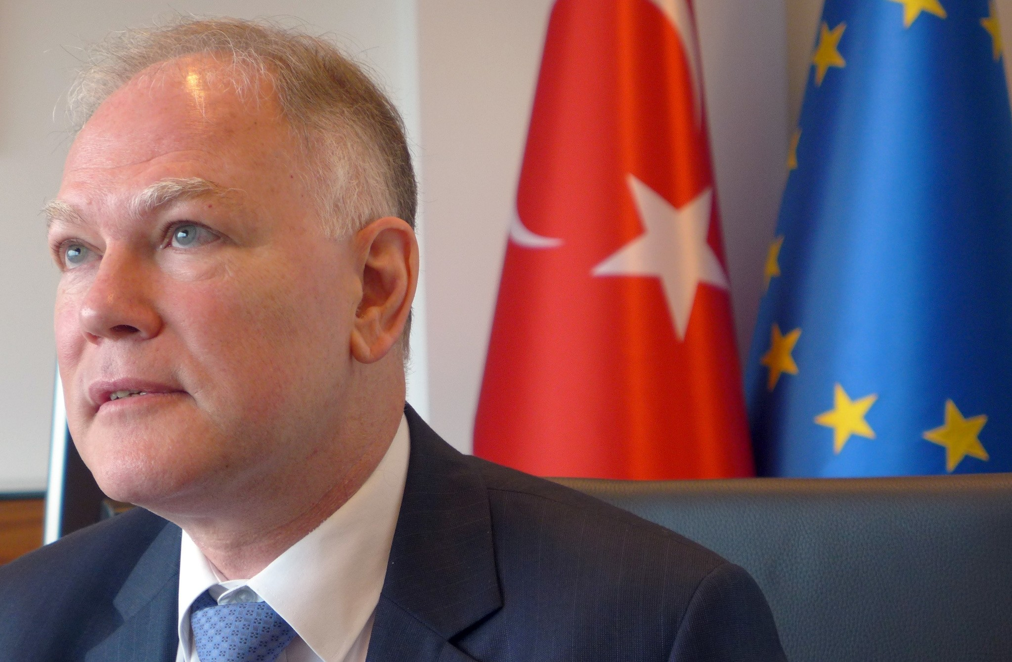 Turkey's Ambassador to the European Union Selim Yenel speaks during an interview at the Turkish embassy in Brussels on Thursday, Aug. 11, 2016. (AP Photo)