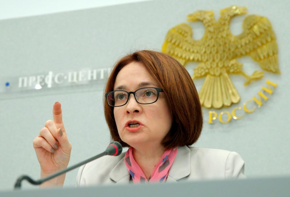 Russia's Central Bank Governor Elvira Nabiullina speaks during a news conference in Moscow on Friday. (Reuters Photo)