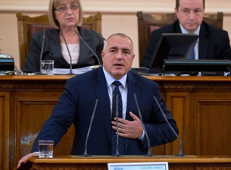 Outgoing Bulgarian Prime Minister Boyko Borisov speaks at the parliament on November 16, 2016 in Sofia, after announcing his government's resignation.  (AFP Photo)