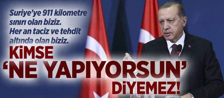 Erdoğan: Kimse ne yapıyorsun diyemez!