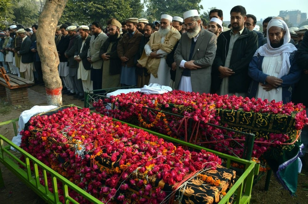 An Islamic funeral in Pakistan.