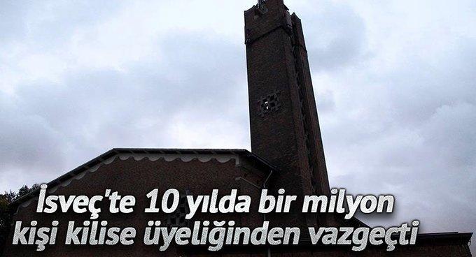 İsveçte 10 yılda bir milyon kişi kilise üyeliğinden vazgeçti