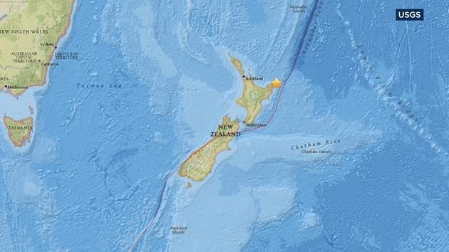 A map from the U.S. Geological Survey shows the location of an earthquake that struck off the coast of New Zealand on Thursday, Sept. 1, 2016. (USGS Photo)
