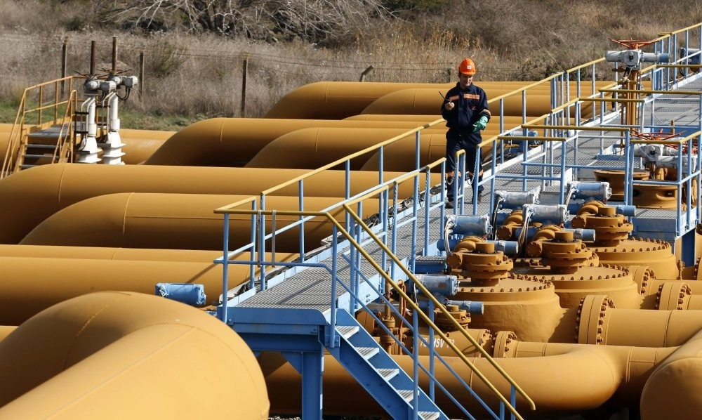 A file photo showing a worker checking equipment at a gas storage.