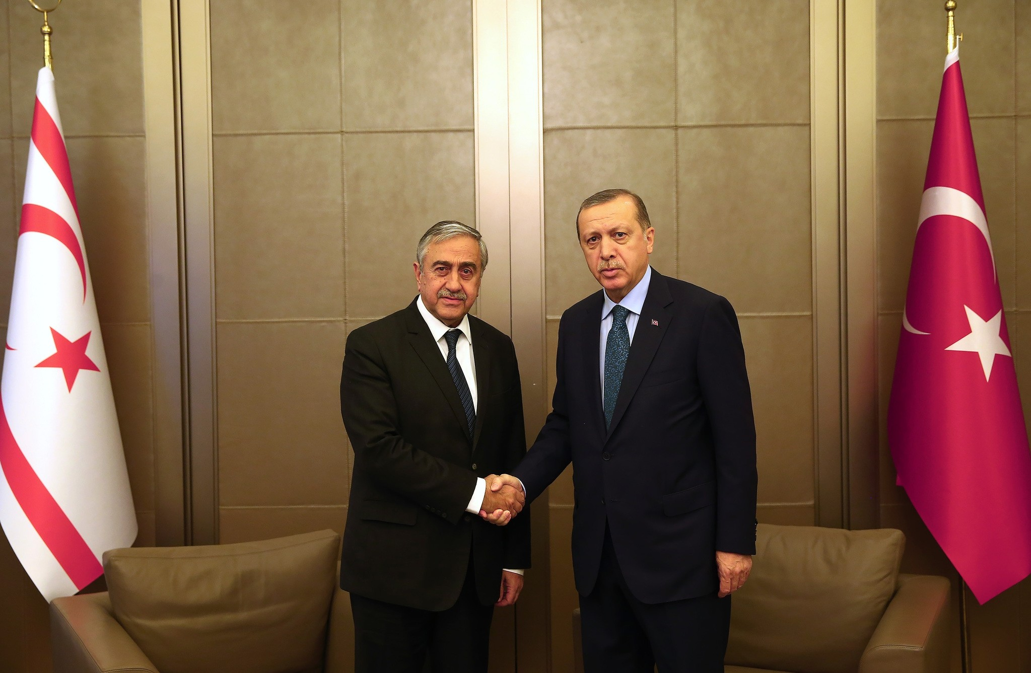 President Recep Tayyip Erdou011fan and Turkish Republic of Northern Cyprus (KKTC) President Mustafa Aku0131ncu0131 hold a meeting at the Trabya Mansion. (AA Photo)