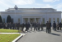 People gather outside the West Wing of the White House in Washington, Thursday, Nov. 10, 2016. (AP Photo)