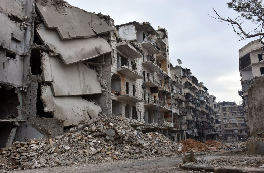A picture shows the destruction of buildings in the former opposition-held Sukkari district in the northern parts of Aleppo on Dec. 23.