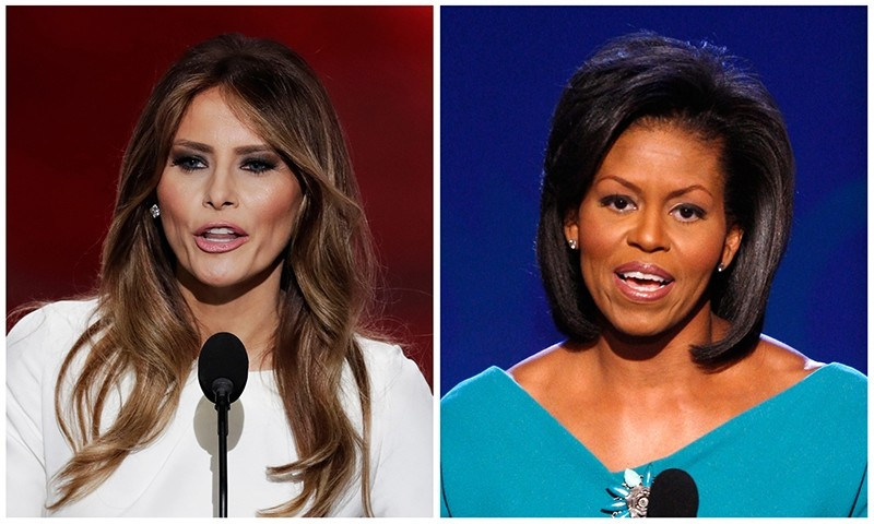 Melania Trump's well-received speech Monday to the RNC contained passages that match nearly word-for-word the speech of Michelle Obama. (AP Photos)