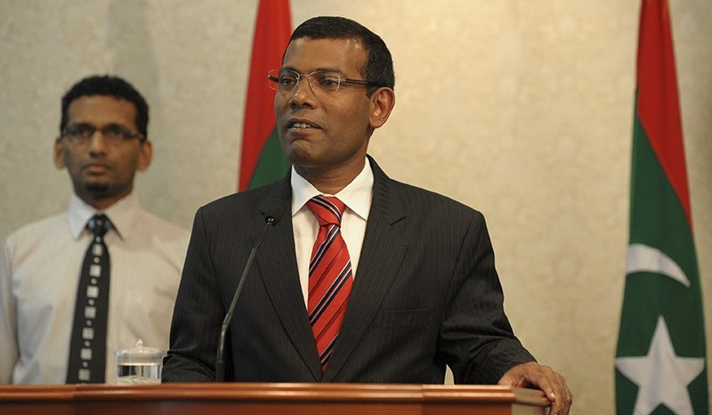 Maldives President Mohamed Nasheed announces his resignation in Male February 7, 2012 (Reuters Photo)