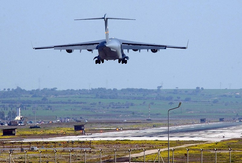 A file picture dated 11 March 2003 shows US military plane landing at Incirlik airbase, near the southern Turkish city of Adana. (EPA)