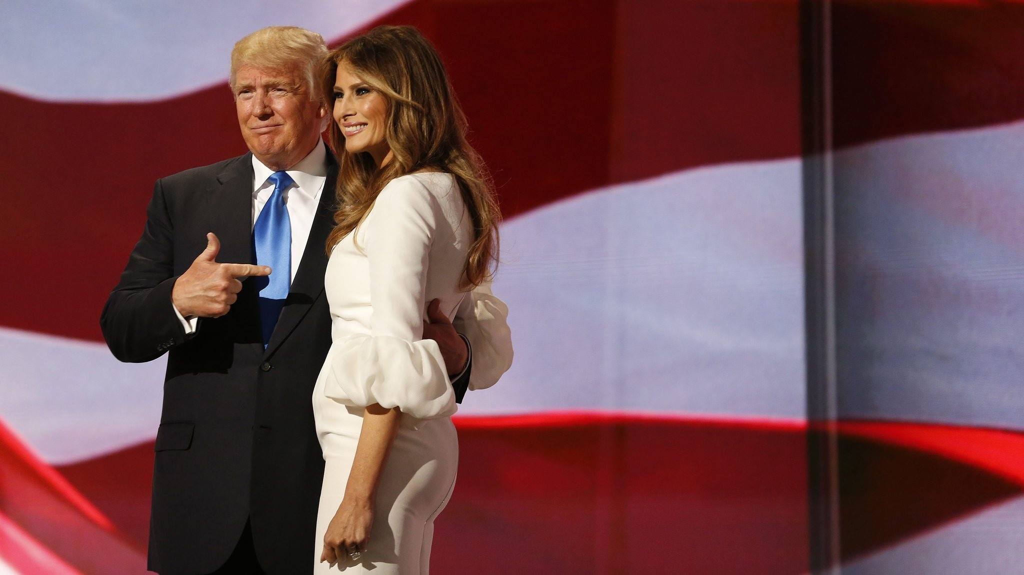 Donald Trump (L) escorts his wife Melania (R) after her speech during the second session on the first day of the 2016 Republican National Convention at Quicken Loans Arena in Cleveland, 18 July 2016. (EPA Photo)