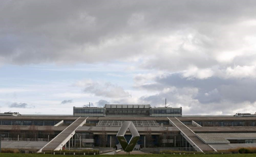 The logo of French car manufacturer Renault is seen in front of the companyu2019s research center, the Technocentre, in Guyancourt, near Paris.