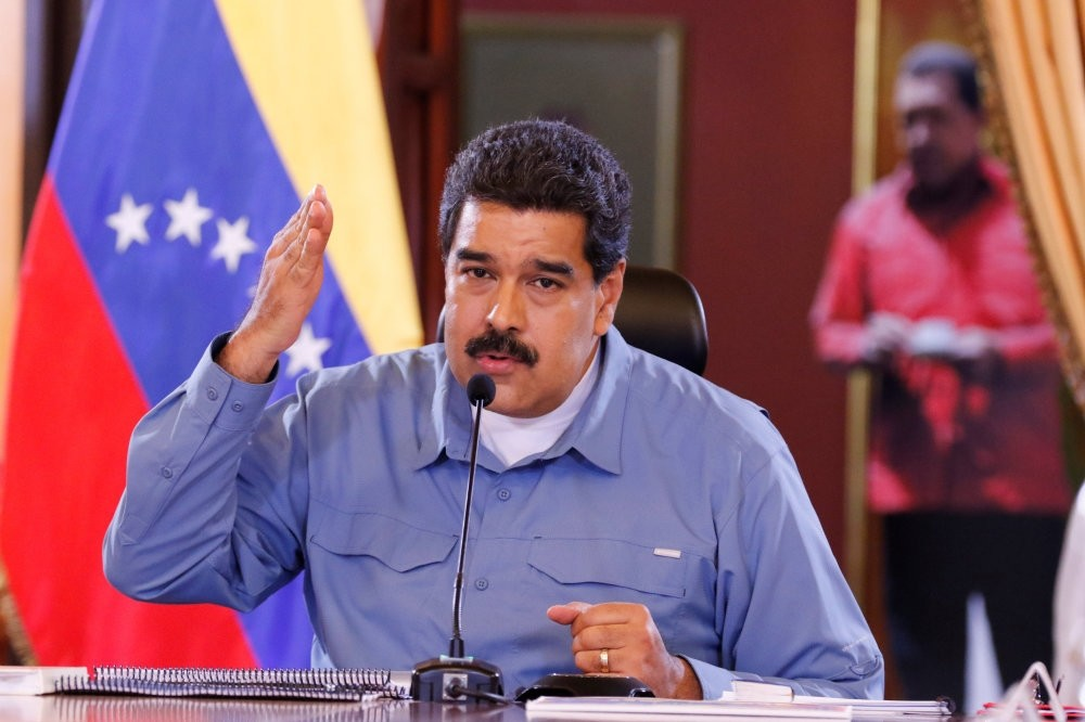 Venezuela's President Nicolas Maduro speaks during a Council of Ministers meeting at Miraflores Palace in Caracas.