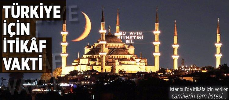 İstanbul'da itikâfa izin verilen camiler