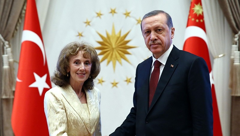 In this file photo from June 16, 2015, Slovakian envoy Anna Turenicova (Left) shakes hands with President Recep Tayyip Erdou011fan (AA Photo)