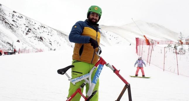 Zantır, bicycle on ski boards, gains popularity in Erzurum's Palandöken