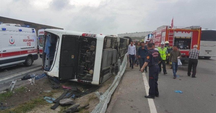 Son dakika... Askerleri taşıyan otobüs devrildi: 47 yaralı
