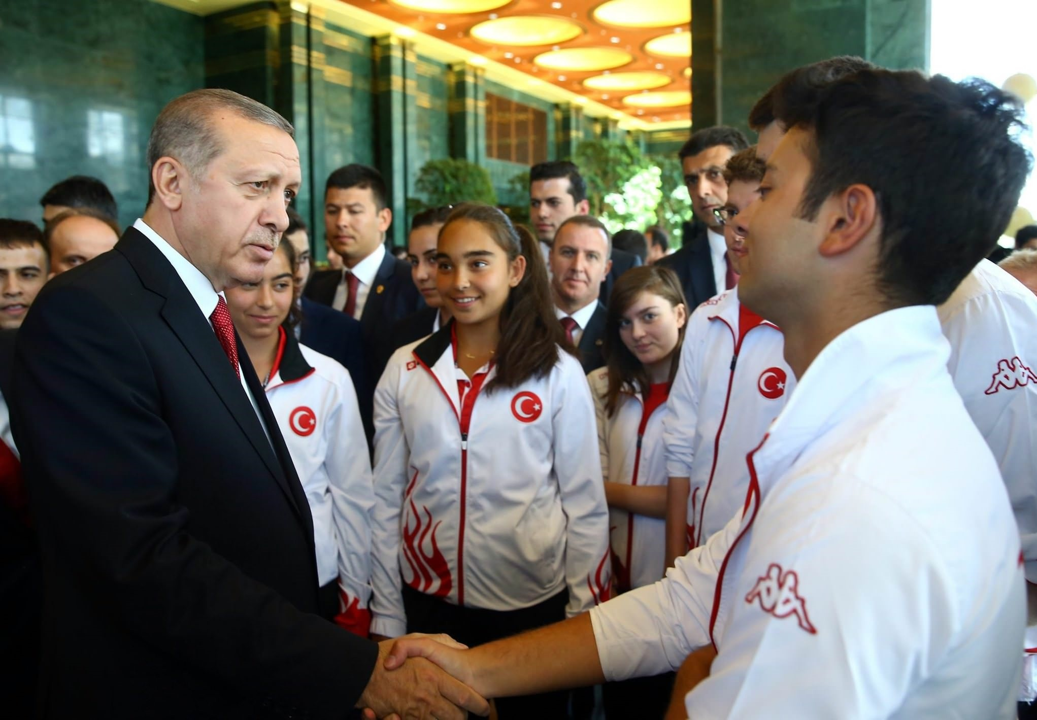 President Recep Tayyip Erdou011fan hosted young students and athletes at a reception.