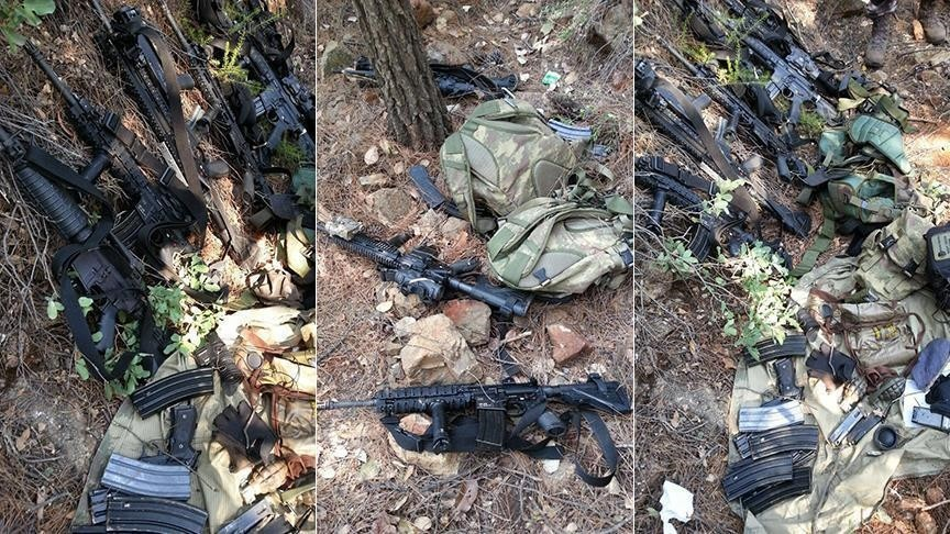 12 assault rifles, six cartridge clips and three grenades, were found in a forested area near the Grand Yazici Marmaris Hotel outside Marmaris, where the president had been staying on the night of July 15. (AA Photo)