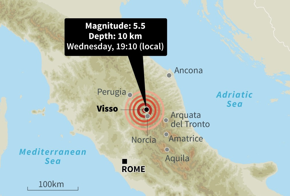 Map locating Wednesday's earthquake near the village of Visso in the Macerata area of the central Marche region. (AFP Photo)