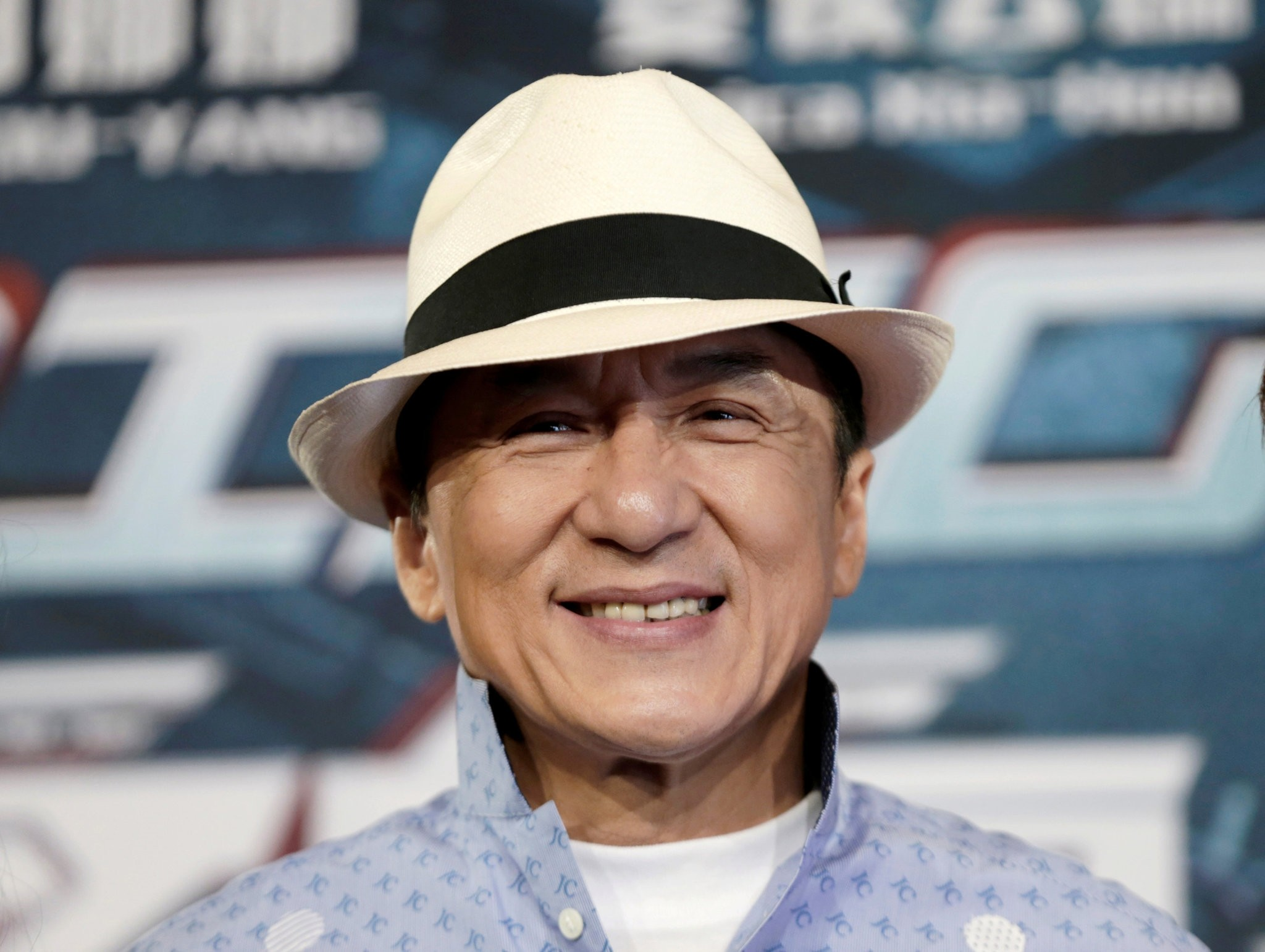 Actor Jackie Chan poses for the cameras at the announcement of the beginning of production for the science fiction action film 'Bleeding Steel'. (REUTERS Photo)