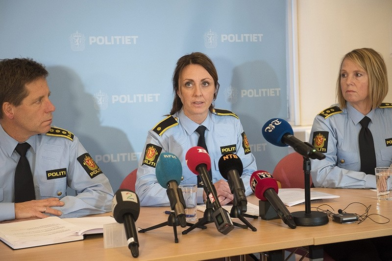 Deputy Police Chief Gunnar Floystad (L), investigation leader Hilde Reikeraas (C) and prosecutor Janne Heltne (R) at a press conference on the pedophile network case (EPA Photo)