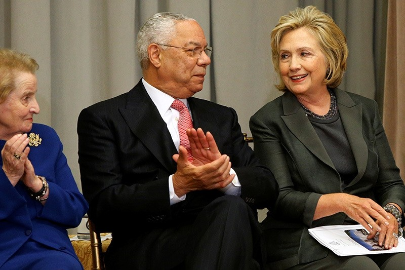Former U.S. Secretaries of State Madeleine Albright (L-R), Colin Powell and Hillary Clinton listen to remarks at a groundbreaking ceremony for the U.S. Diplomacy Center at the State Department in Washington September 3, 2014. (Reuters Photo)