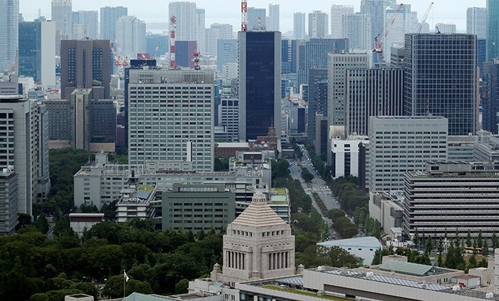 The Parliament Building (bottom) is seen in front of office buildings of government ministeries in Tokyo, Japan July 19, 2016. (Reuters Photo)