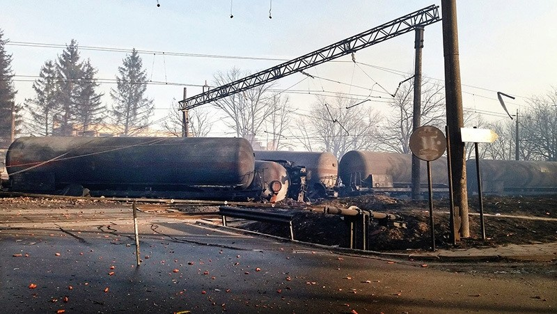 A general view of railway wagons after the explosion following a derailment of a goods train in the village of Hitrino some 360 km from Sofia, Bulgaria, Dec. 10, 2016.