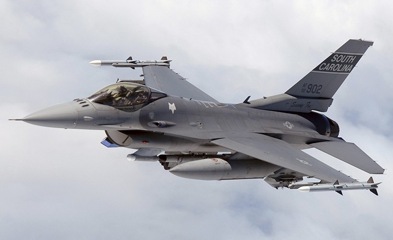 F-16 pilot from the 169th Fighter Wing, South Carolina Air National Guard flies a training mission in the KIWI MOA airspace over the cost of North Carolina Cost . (U.S. Air Force photo SMSgt Thomas Meneguin)