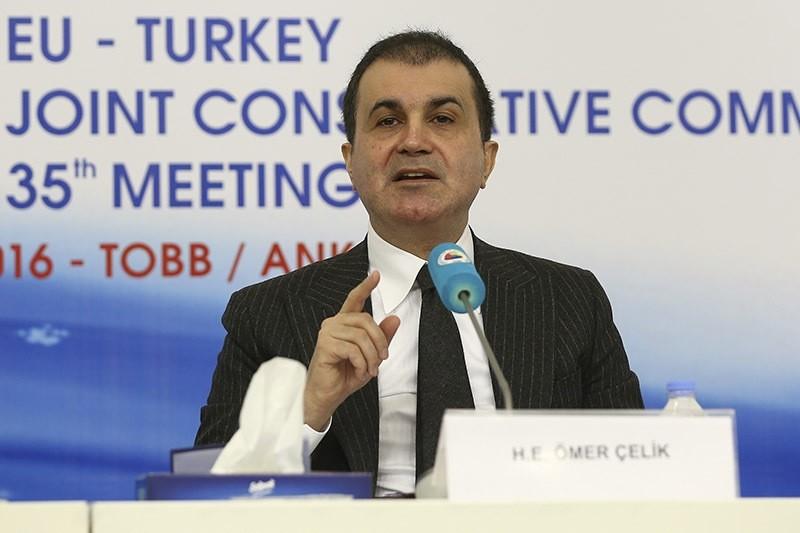 Turkey's EU Minister and Chief Negotiator u00d6mer u00c7elik speaks at the 35th Turkey-EU Joint Advisory Committee on 5 December 2016. (AA Photo)