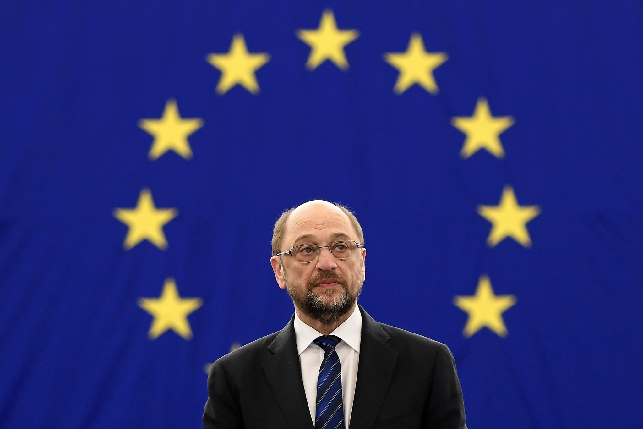 This file photo taken on January 16, 2017 shows then European Parliament President Martin Schulz waiting for the announcement of the candidates for the election. (AFP Photo)