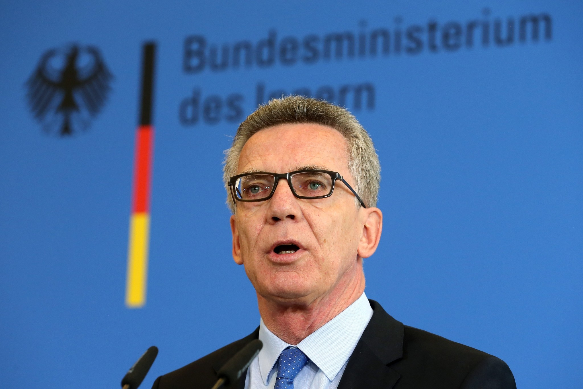 German Interior Minister Thomas de Maiziere, presents measures for increased security, in Berlin, Germany, Tursday, Aug. 11, 2016. (AP Photo)