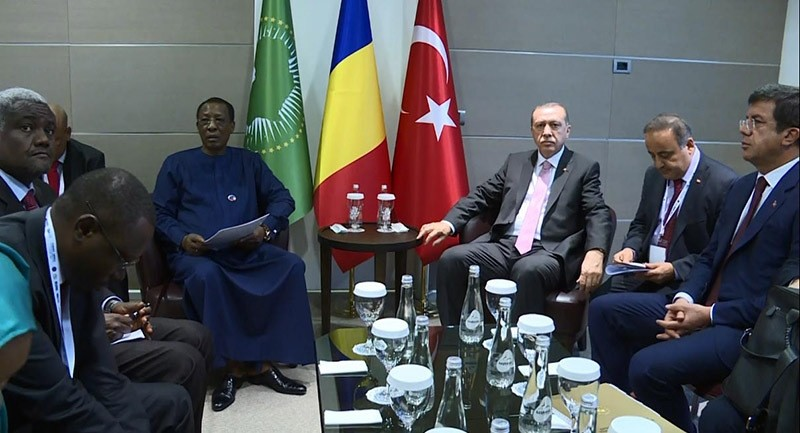 President Recep Tayyip Erdou011fan with his Chadian counterpart Idriss Deby Itno at the Turkey-Africa Economic Business Forum in Istanbul. Nov. 2, 2016. (DHA Photo)