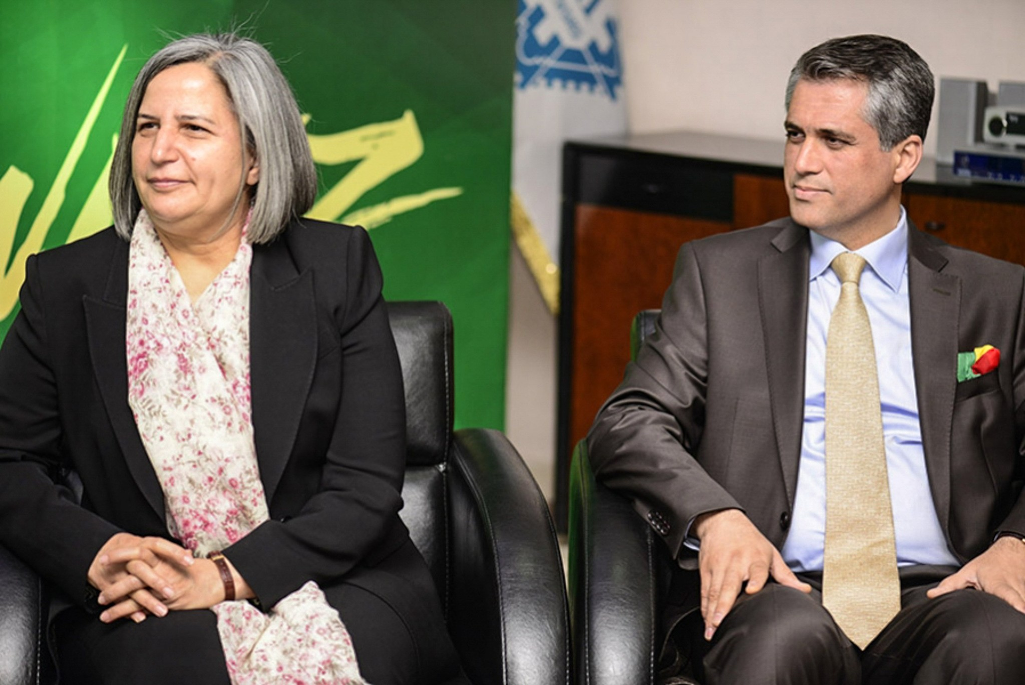 Two co-mayors Gu00fcltan Ku0131u015fanak (L) and Fu0131rat Anlu0131 (R) during an event in Diyarbakir.