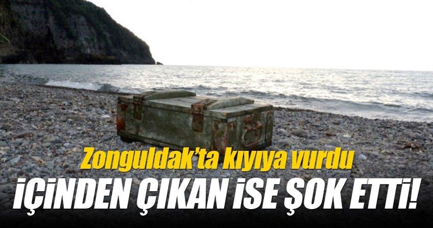 Zonguldak'ta kıyıya vuran sandığın içinden mühimmat çıktı!