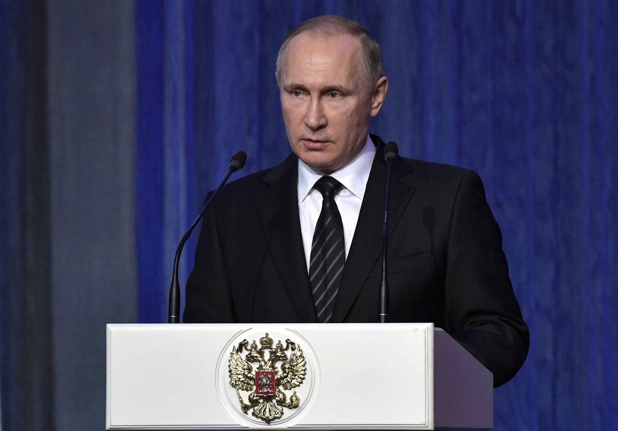 Russian President Vladimir Putin speaks during a gala evening devoted to the Day of Security Workers at the State Kremlin Palace in Moscow on Dec. 20, 2016. (AFP Photo)