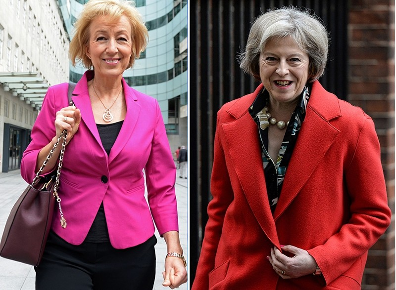 The 2 leading candidates for the Conservative leadership Andrea Leadsom leaving the BBC in London on July 3, 2016, British Home Secretary Theresa May leaving 10 Downing Street on February 22, 2016. (AFP Photo)