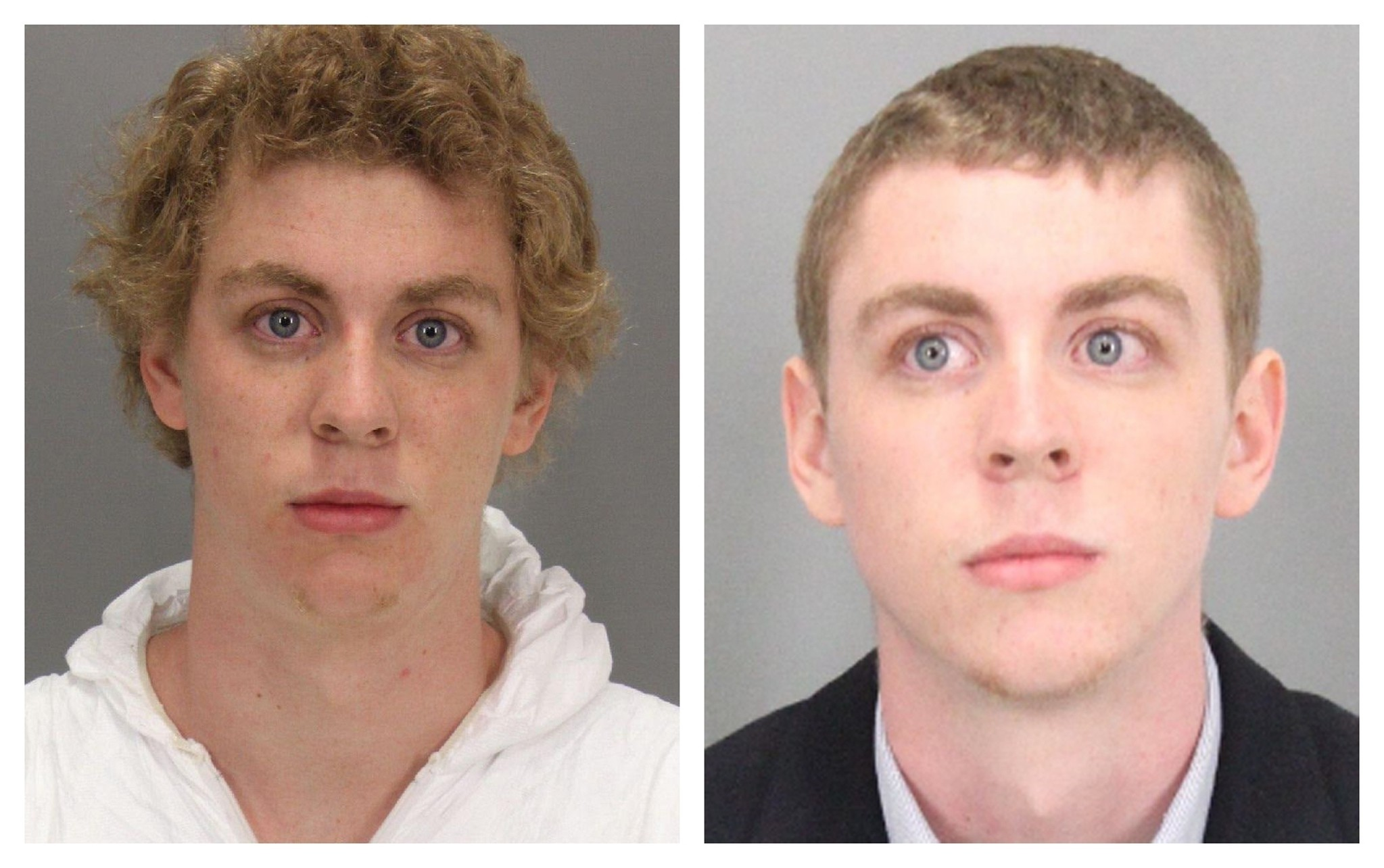 A combination booking photos shows former Stanford University student Brock Turner (L) on January 18, 2015 at the time of arrest and after Turner was sentenced to six months in county jail. (REUTERS Photo)