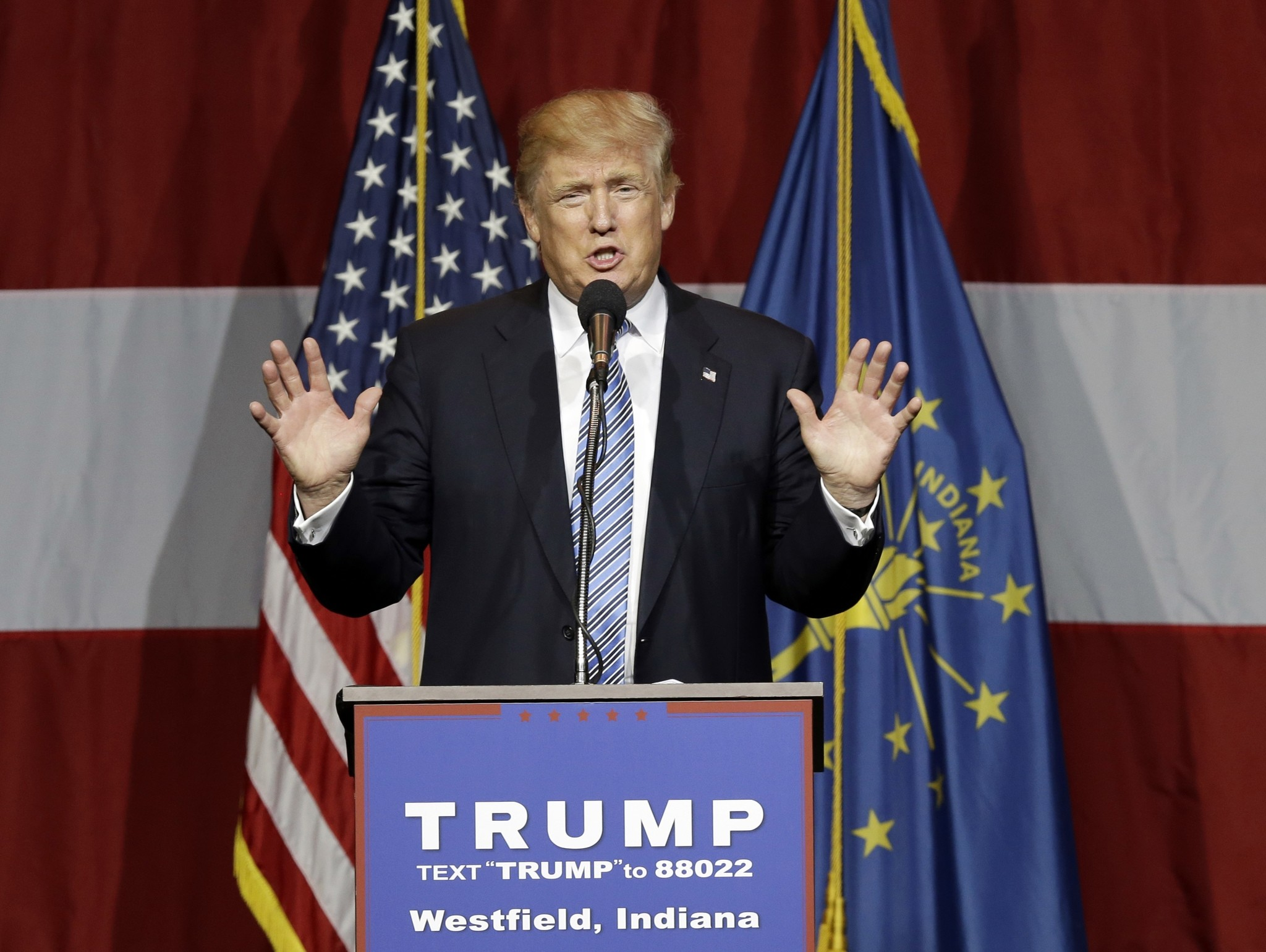 In this July 12, 2016 file photo, Republican presidential candidate Donald Trump speaks in Westfield, Ind. (AP Photo)