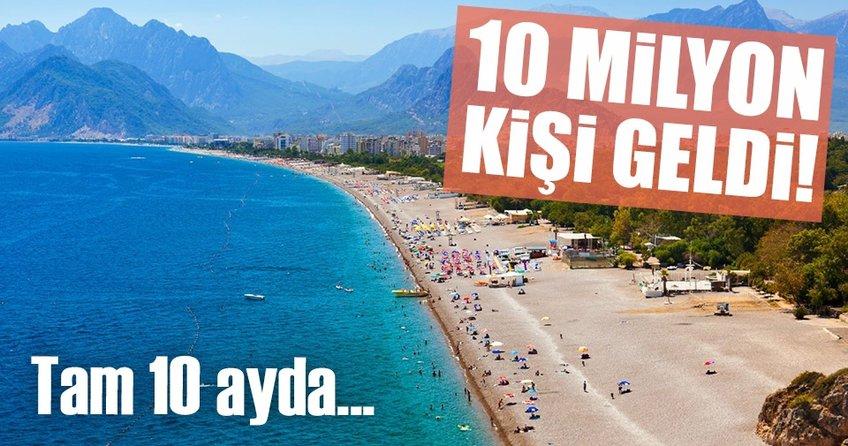 Antalya 10 milyon turisti aştı!