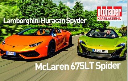 Karşılaştırma · McLaren 675LT Spider, Lamborghini Huracan Spyder