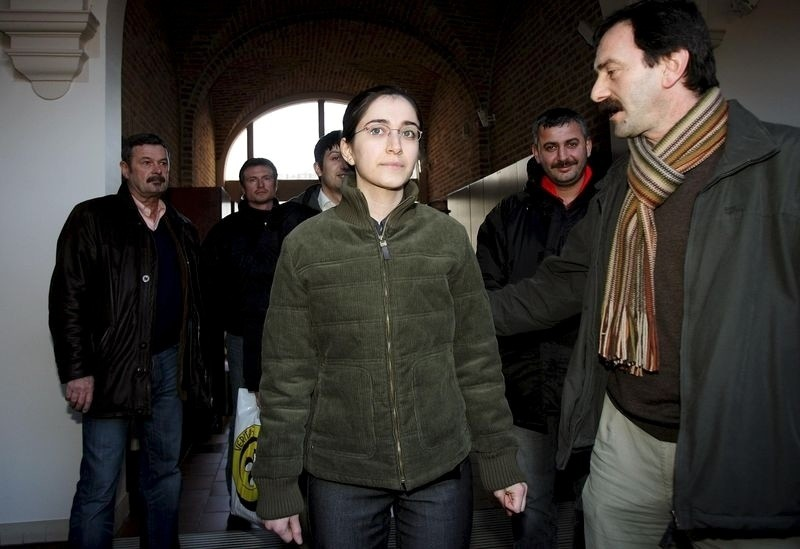 This file photo dated 2006 shows Fehriye Erdal (C) leaving a courthouse in Brugge.