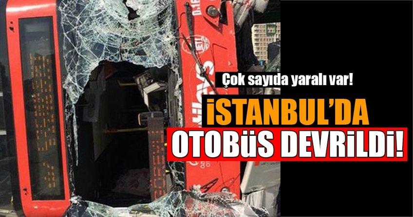 İstanbul, Bahçeşehir'de otobüs devrildi!