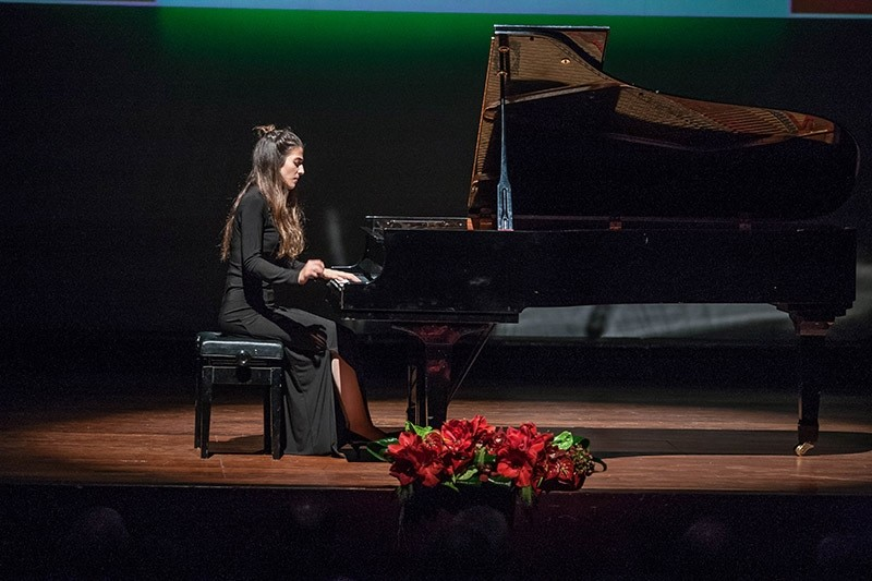 Turkish pianist Deniz Irem Gu00fcr performs at the International Piano Competition Her Royal Highness Princess Lalla Meryem in Morocco. (AA Photo)