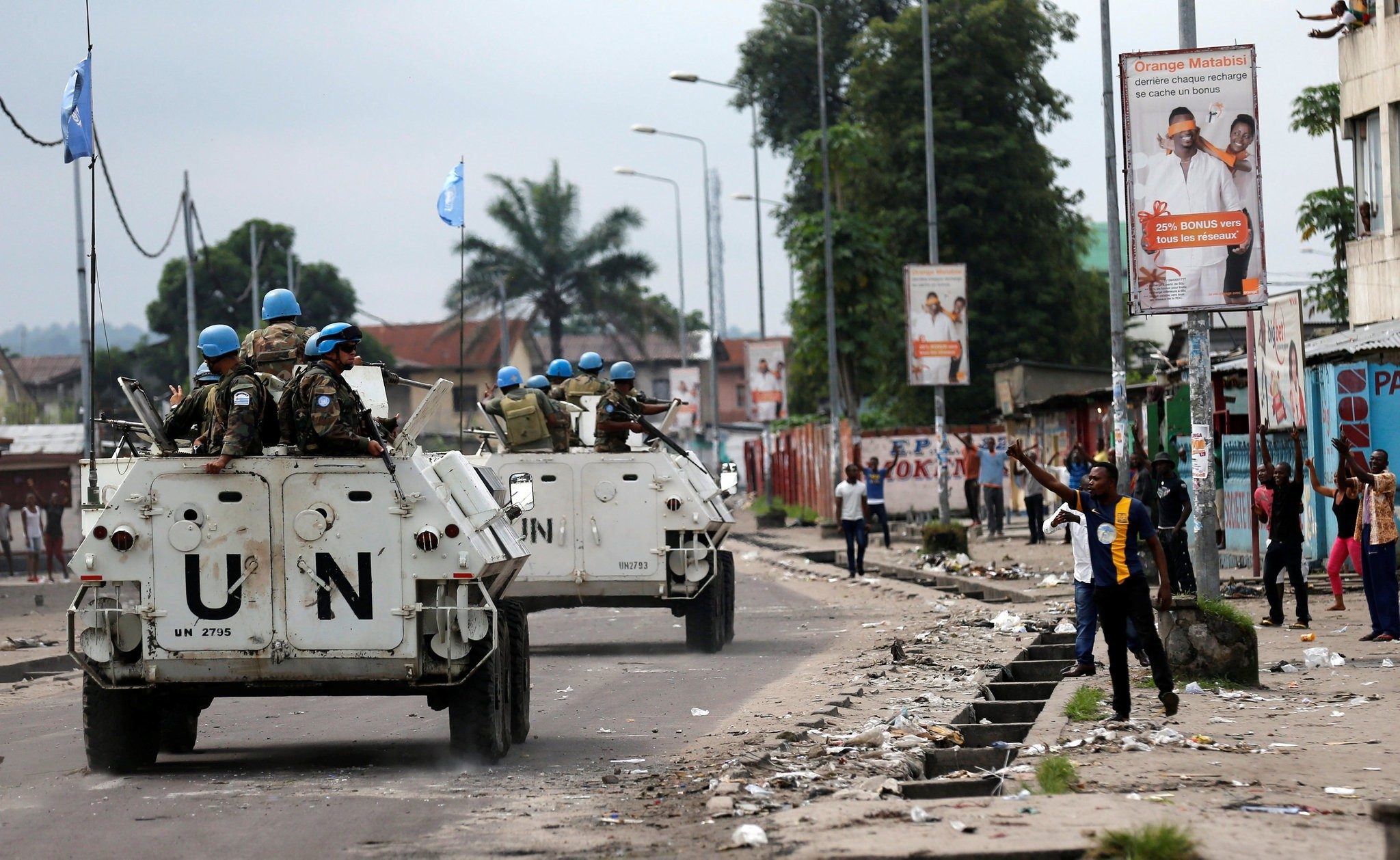 Peacekeepers serving in the United Nations Organization Stabilization Mission in the Democratic Republic of the Congo (MONUSCO) patrol. (Reuters Photo)