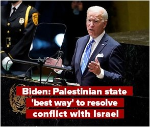 Biden: Palestinian state best way to resolve conflict with Israel