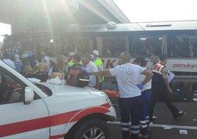 Ankara-Eskişehir karayolunda yolcular otobüse sıkıştı