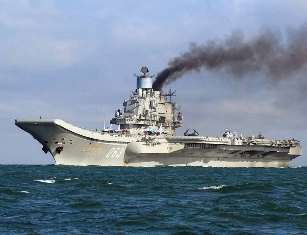 Russian aircraft carrier Admiral Kuznetsov en route to the eastern Mediterranean.